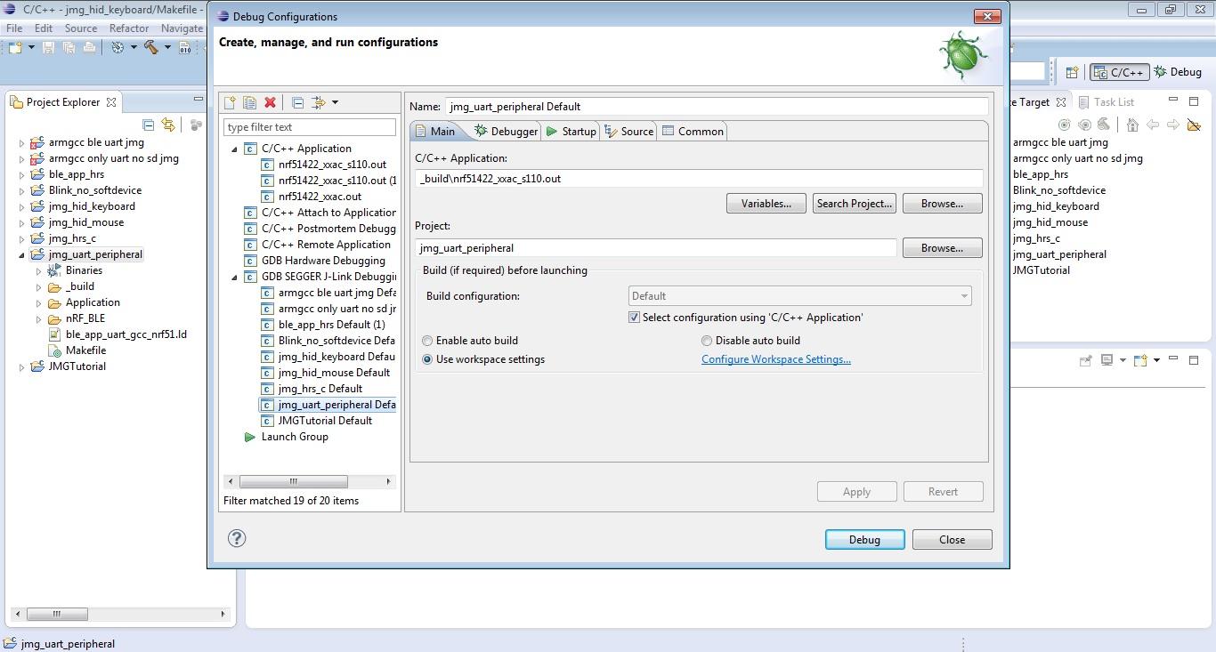 Using eclipse and GNU gcc to program and debug BLE Nano