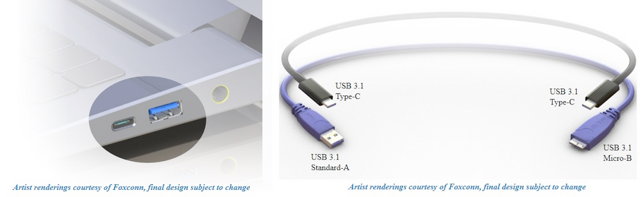 New USB type-C cable and connectors.